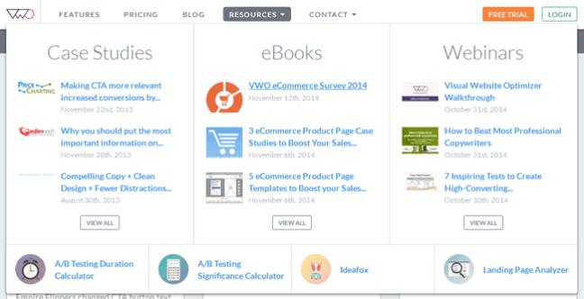 Visual Website Optimizer Mega Menu Design Example