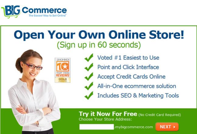 BigCommerce landing page design example