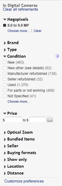 eBay faceted navigation design example
