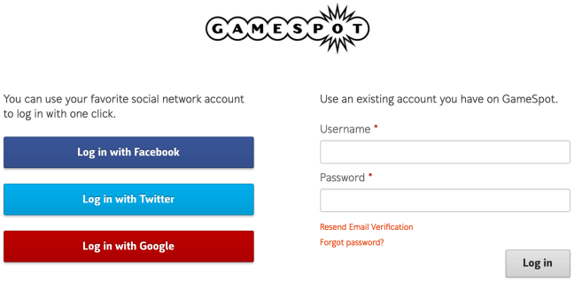 GameSpot login form design example