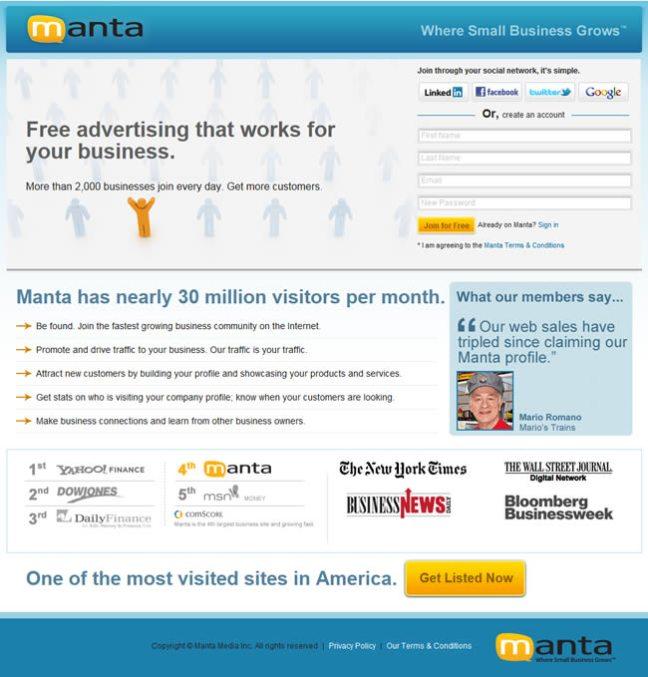 Manta landing page design example