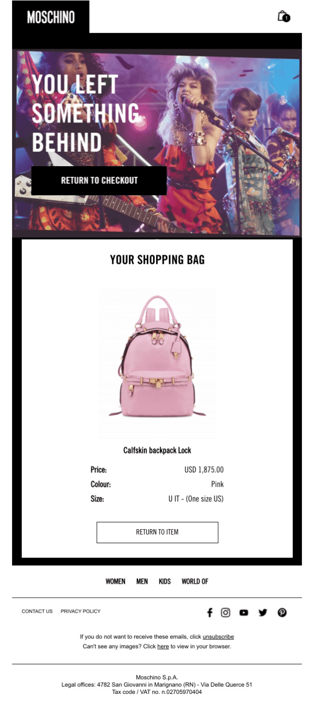 Moschino abandoned cart email