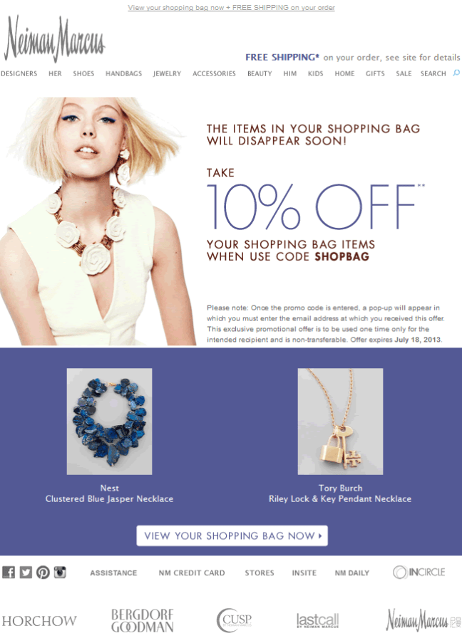 Neiman Marcus abandoned cart email design example