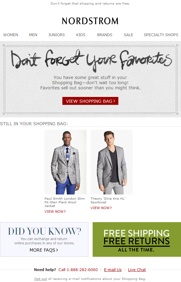 Nordstrom abandoned cart email design example