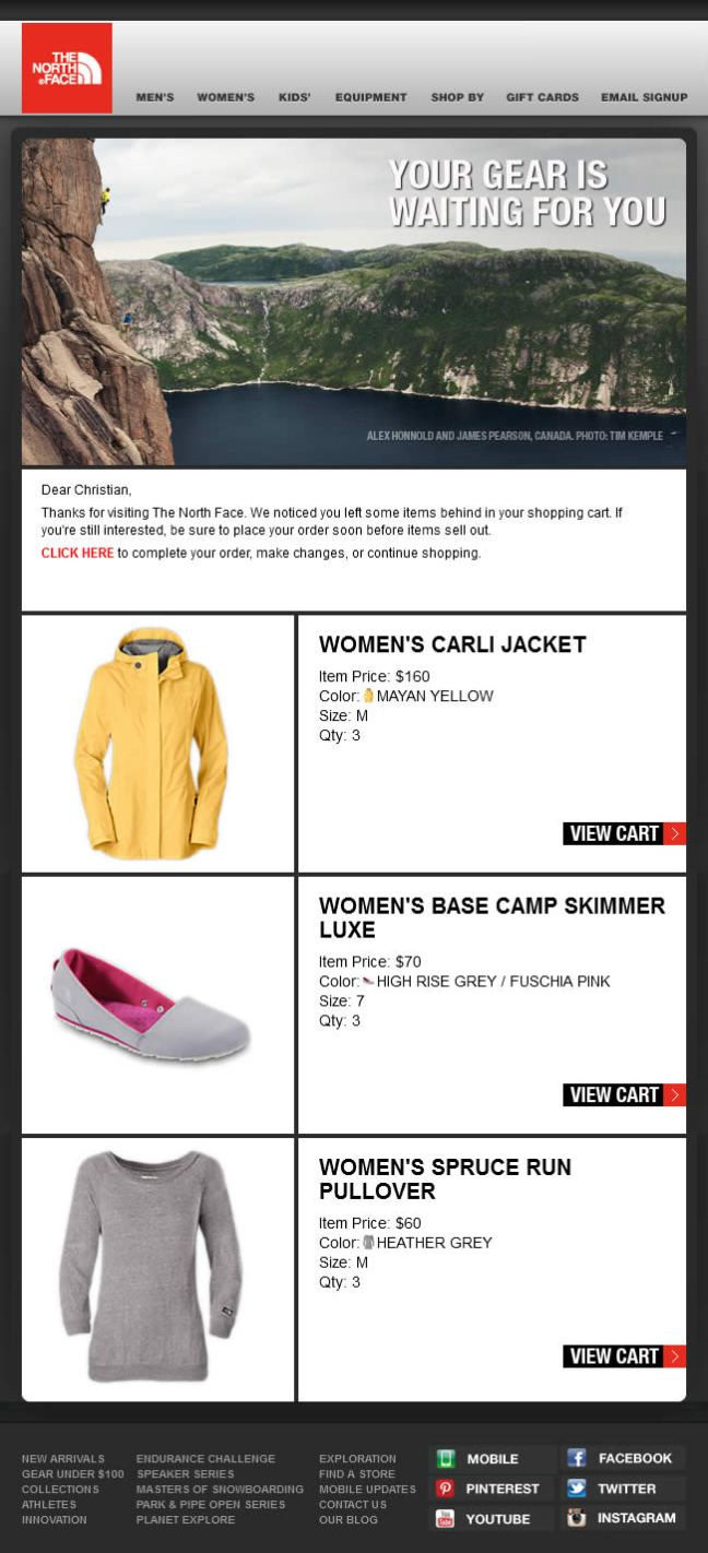 The North Face abandoned cart email design example