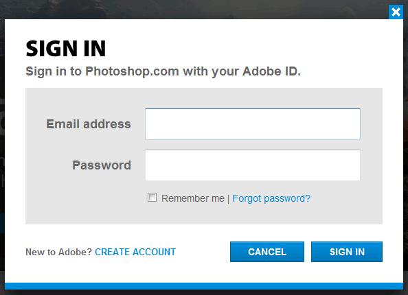 Photoshop.com login form design example
