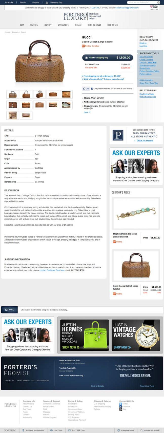 Portero Luxury ecommerce product page design example