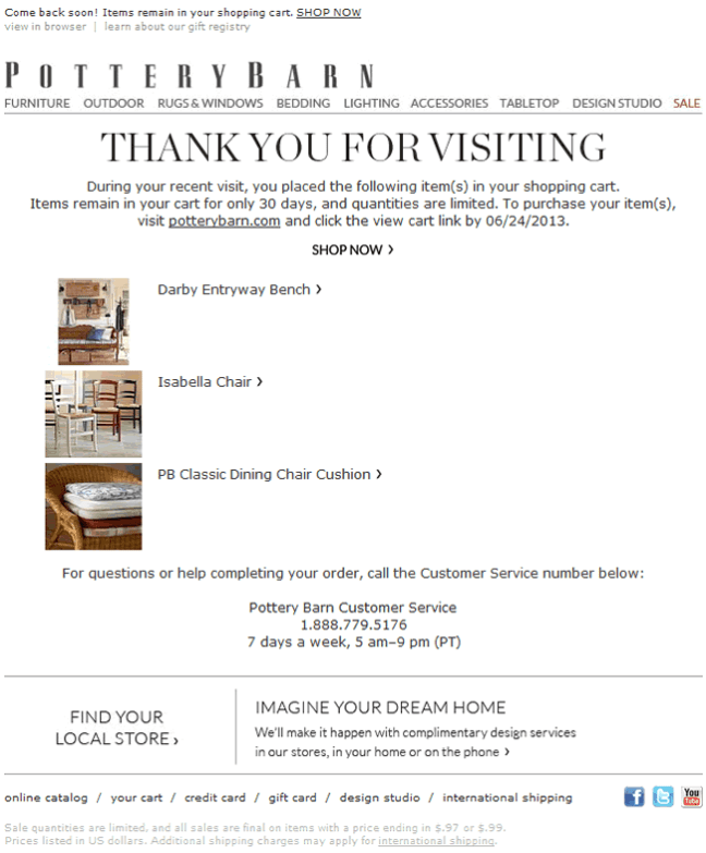 Pottery Barn abandoned cart email design example