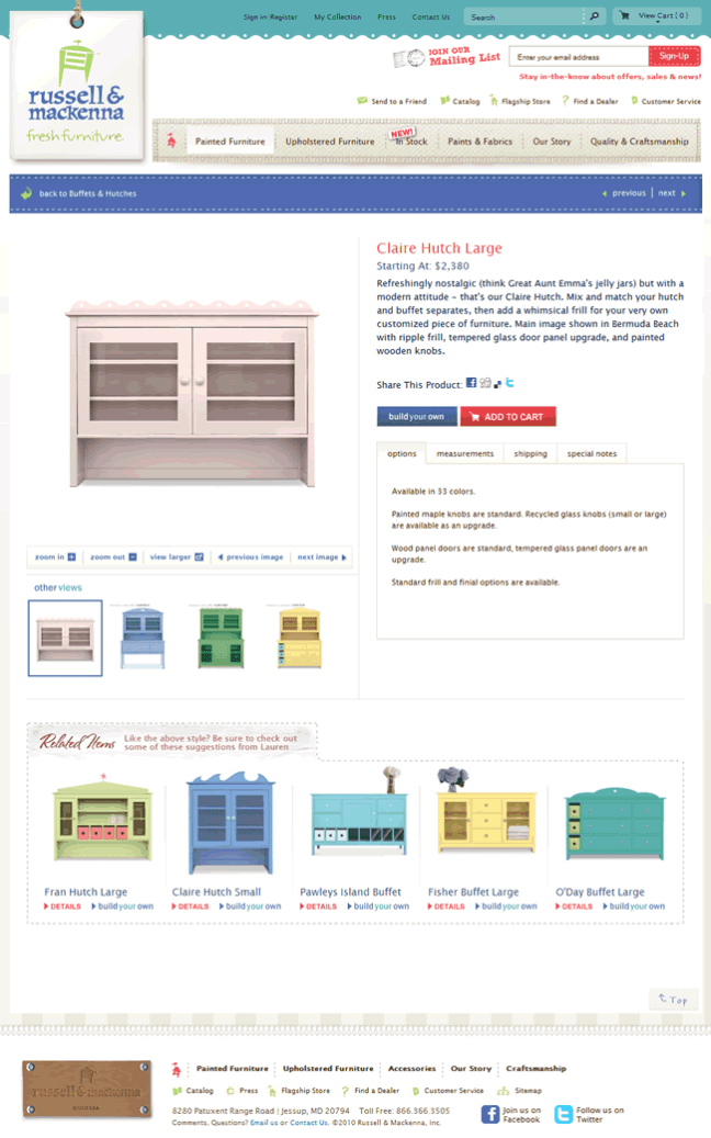 russell & mackenna ecommerce product page design example