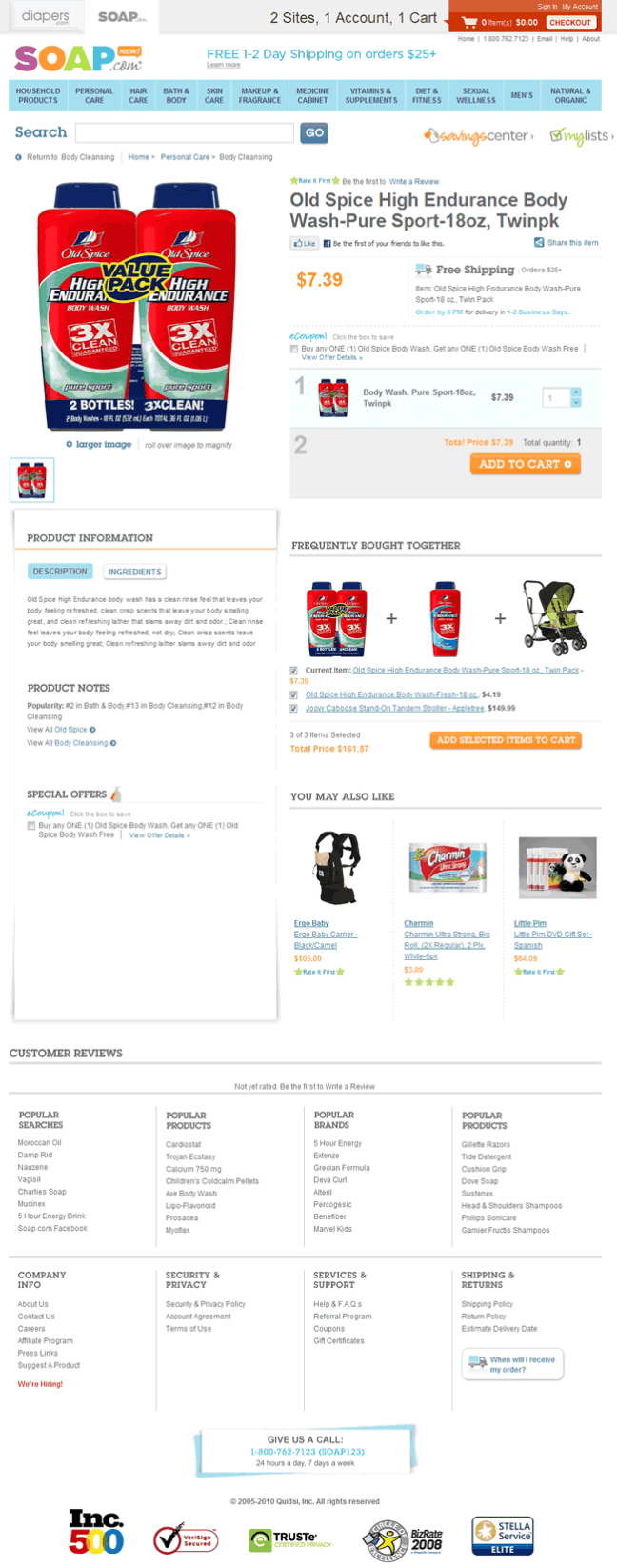Soap.com ecommerce product page design example