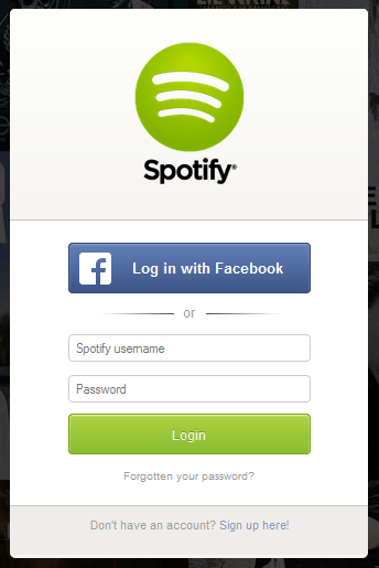 Spotify registration form design example