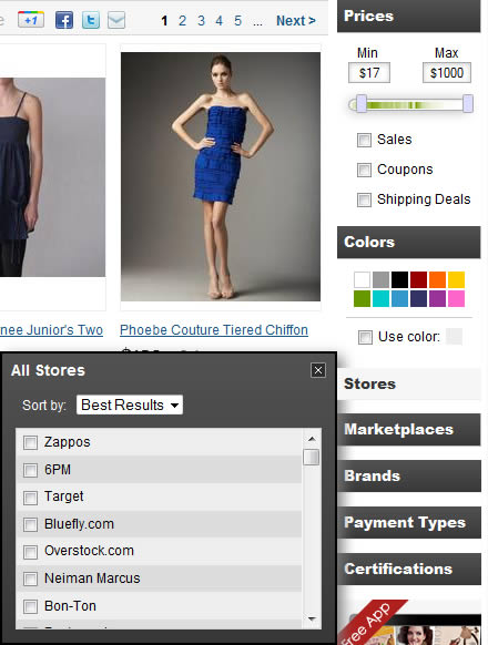 TheFind faceted navigation design example