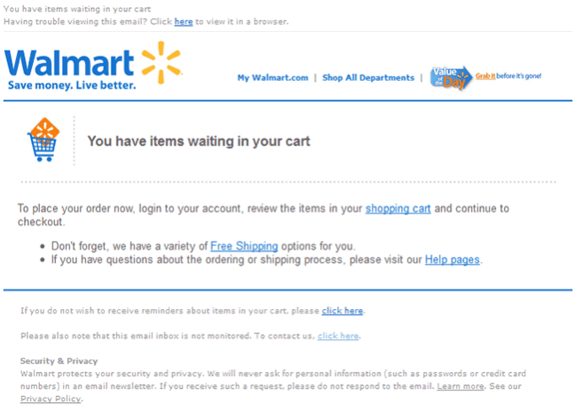 Walmart abandoned cart email design example