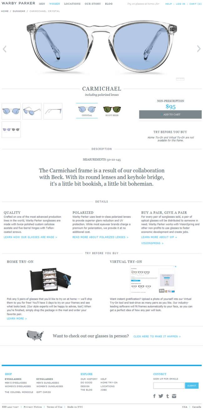 Warby Parker ecommerce product page design example