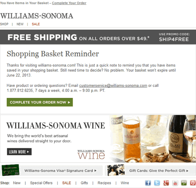 Williams-Sonoma abandoned cart email design example