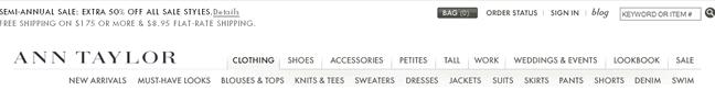 Ann Taylor website header design example