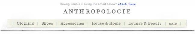 Anthropologie email header design example