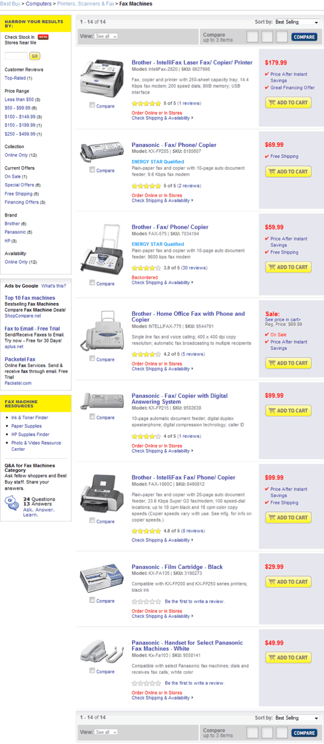 Best Buy ecommerce gallery page design example