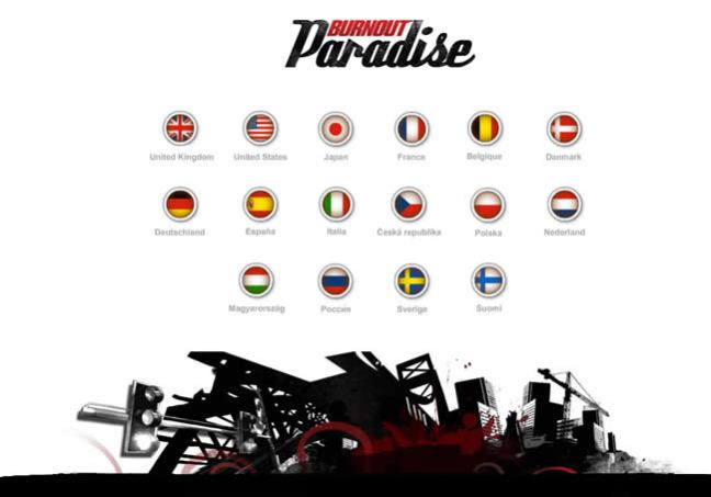 Burnout Paradise website country selector design example