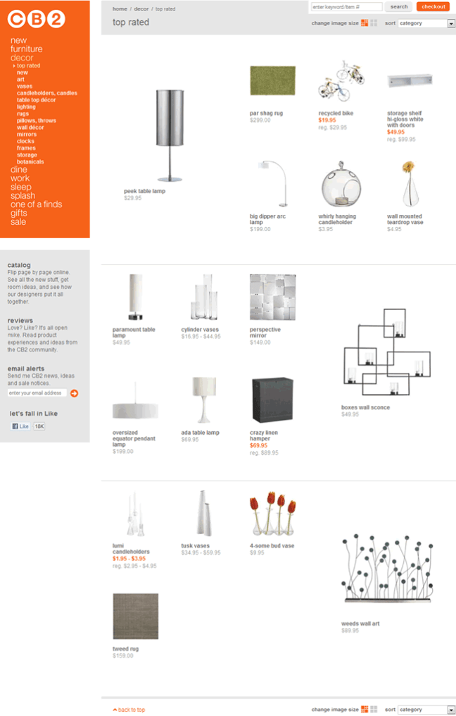 CB2 ecommerce gallery page design example