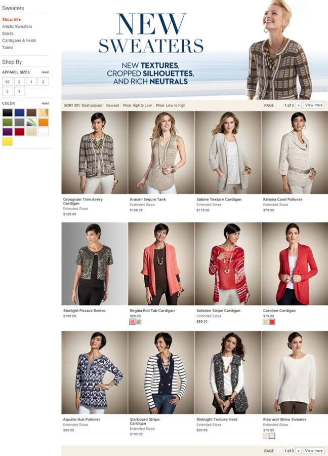 Chico's ecommerce gallery page design example