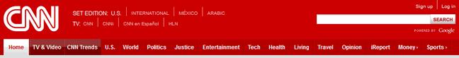 CNN website header design example