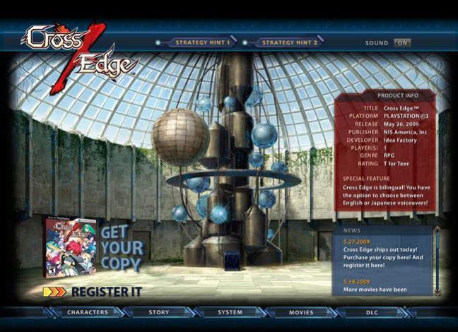 Cross Edge video game website design example