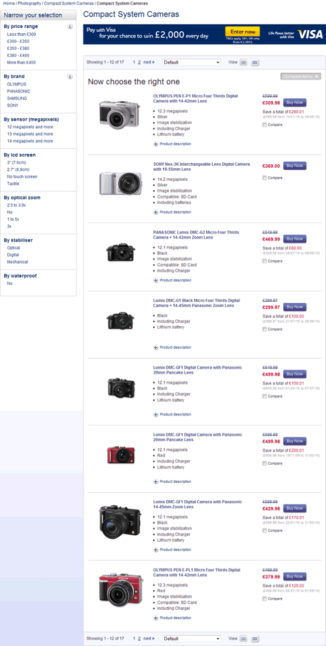 Currys ecommerce gallery page design example