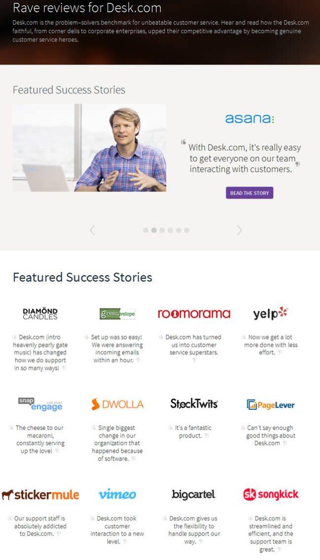 Desk.com customers page design example