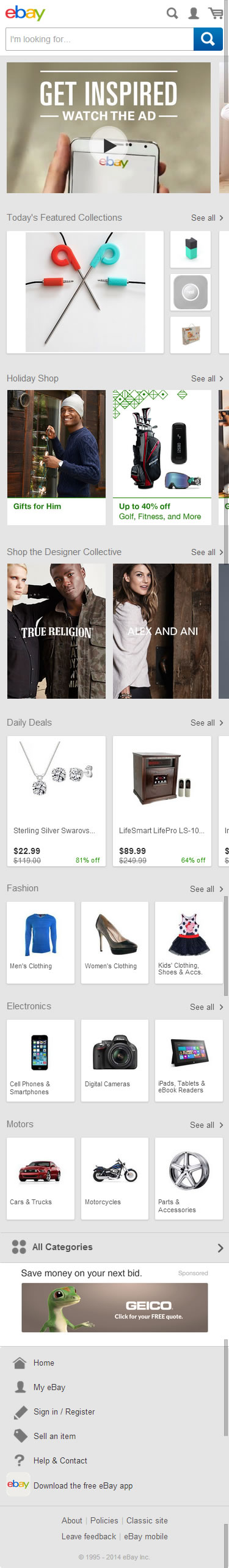 eBay ecommerce mobile home page design example