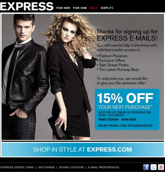 Express welcome email design example