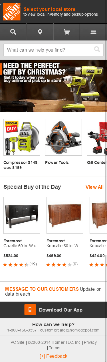 Home Depot mobile ecommerce home page design example