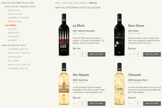JAQK Cellars ecommerce gallery page design example