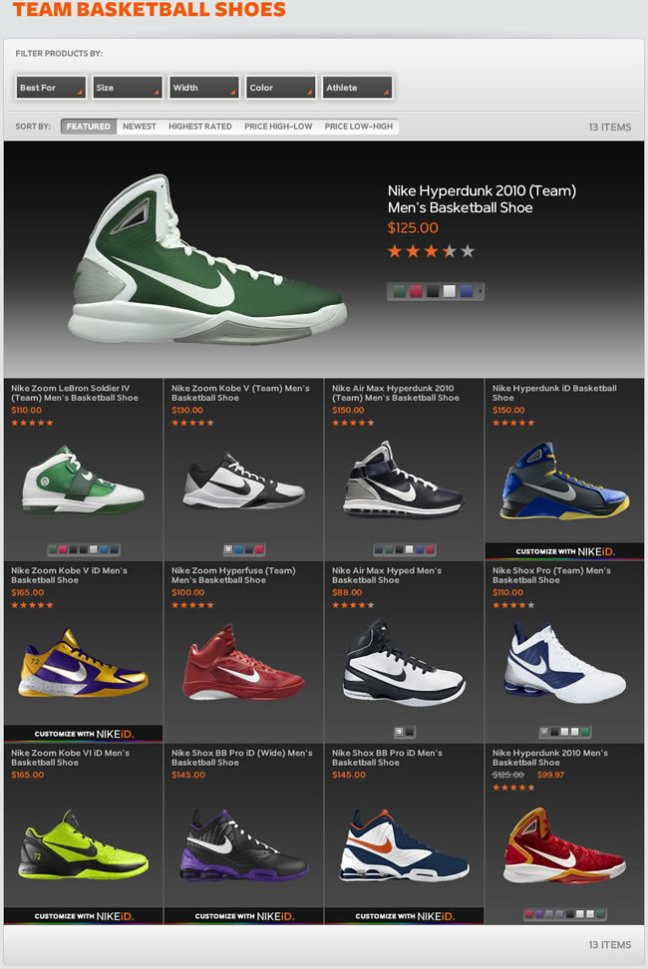 Nike ecommerce gallery page design example