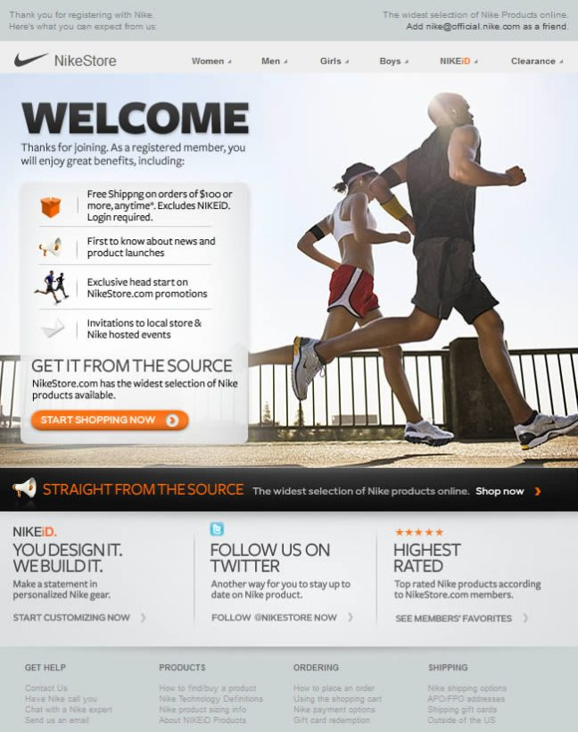 Nike welcome email design example