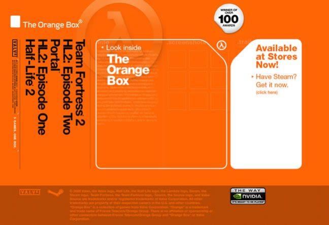 Orange Box video game website design example