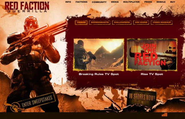 Red Faction: Guerilla video game website design example