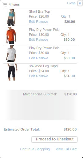 Reebok mini shopping cart design example
