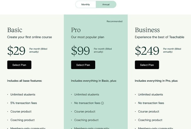 Teachable pricing plan UI design