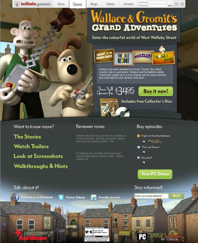 Wallace and Gromit's Grand Adventures video game website design example