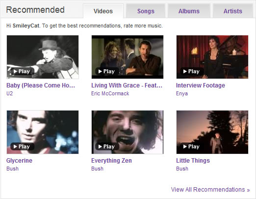 Yahoo! Music tabbed box design example