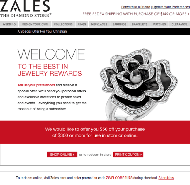 Zales welcome email design example