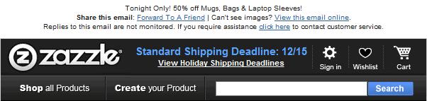 Zazzle email header design example
