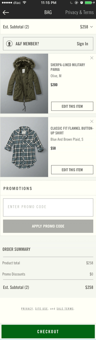 Abercrombie & Fitch mobile shopping cart design