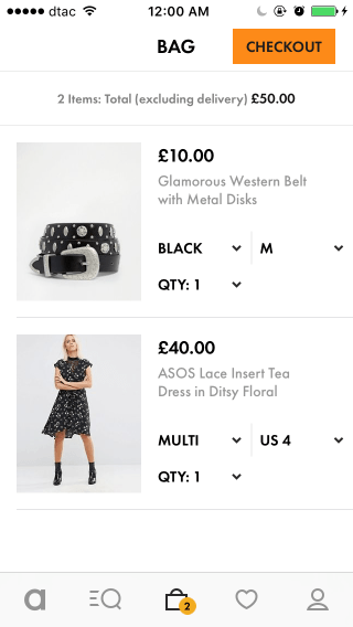Asos mobile shopping cart design