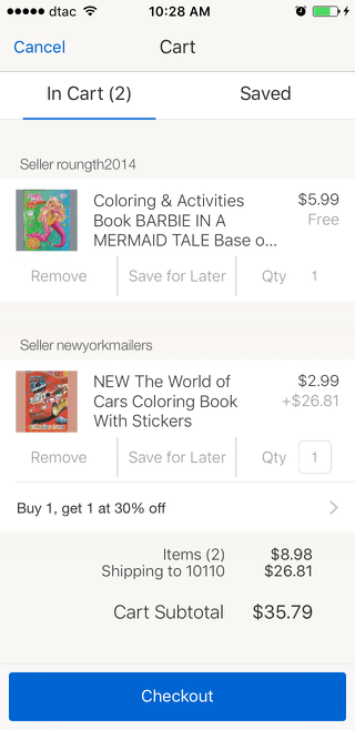 eBay mobile shopping cart design