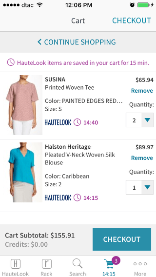 Haute Look mobile shopping cart design