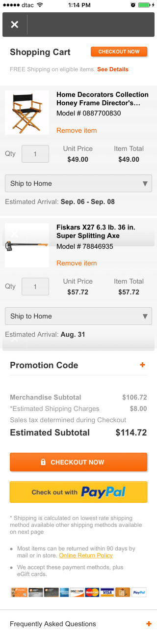 Home Depot mobile shopping cart design