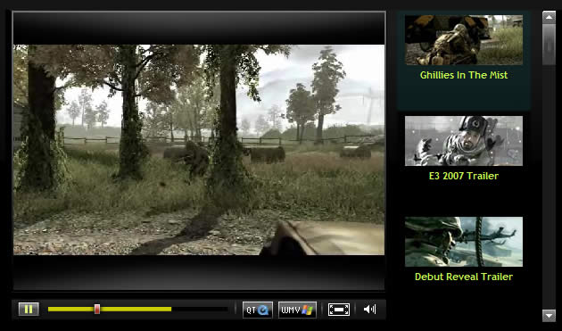 Infinity Ward web video player design example