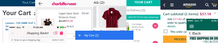Mobile ecommerce shopping cart gallery banner